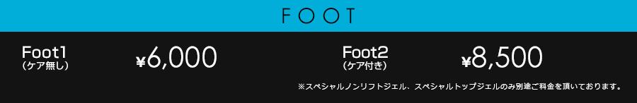 Foot1 (ケア無し)¥6,000 Foot2 (ケア付き)¥8,500 ※スペシャルノンリフトジェル、スペシャルトップジェルのみ別途ご料金を頂いております。
