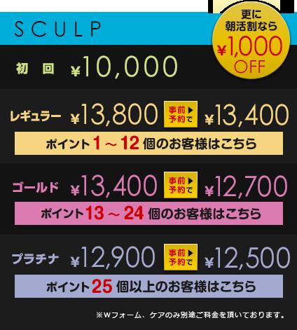 初回¥10,000         レギュラー¥13,800が事前予約で¥13,400【ポイント1~12個のお客様はこちら】         ゴールド¥13,400が事前予約で¥12,700【ポイント13~24個のお客様はこちら】         プラチナ¥12,900が事前予約で¥12,500【ポイント25個以上のお客様はこちら】         ※Wフォーム、ケアのみ別途ご料金を頂いております。