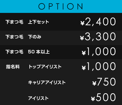 OPTION             下まつ毛 上下セット¥2,400             下まつ毛 下のみ ¥3,300             下まつ毛 50本以上 ¥1,000             指名料 トップネイリスト ¥1,000 ネイリスト ¥500