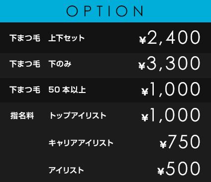 OPTION             下まつ毛 上下セット¥2,400             下まつ毛 下のみ ¥3,300             下まつ毛 50本以上 ¥1,000             指名料/担当料 トップネイリスト ¥1,000 キャリアネイリスト ¥750 ネイリスト ¥500 アシスタントネイリスト ¥0