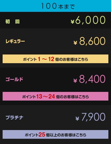 初回¥6,000         レギュラー¥8,600【ポイント1~12個のお客様はこちら】         ゴールド¥8,400【ポイント13~24個のお客様はこちら】         プラチナ¥7,900【ポイント25個以上のお客様はこちら】