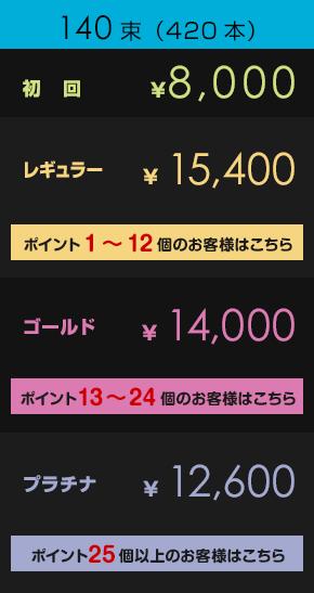 初回¥8,000         レギュラー¥8,800【ポイント1~12個のお客様はこちら】         ゴールド¥10,800【ポイント13~24個のお客様はこちら】         プラチナ¥12,600【ポイント25個以上のお客様はこちら】