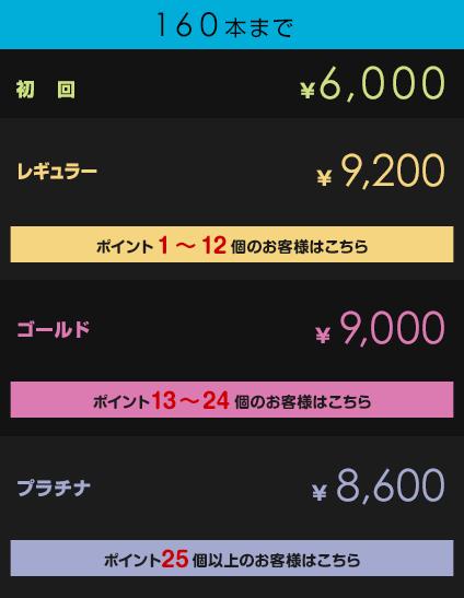 初回¥6,000         レギュラー¥9,200【ポイント1~12個のお客様はこちら】         ゴールド¥9,000【ポイント13~24個のお客様はこちら】         プラチナ¥8,600【ポイント25個以上のお客様はこちら】