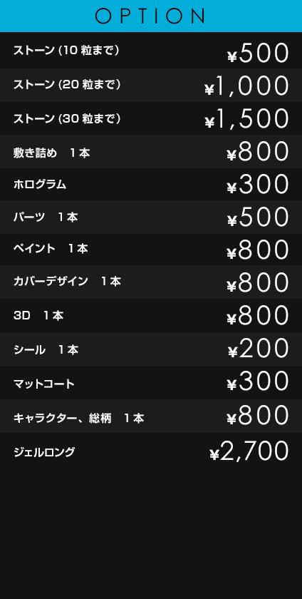 OPTION             ストーン(10粒まで)¥500             ストーン(20粒まで) ¥1,000             ストーン(30粒まで) ¥1,500             敷き詰め 1本 ¥800             ホログラム ¥300             パーツ 1本 ¥500             ペイント 1本 ¥800             カバーデザイン 1本 ¥800             3D 1本 ¥800             シール 1本 ¥200             マットコート ¥300             キャラクター、総柄 ¥800             ジェルロング ¥2,700