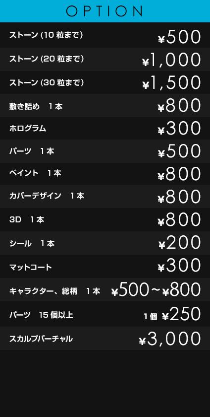OPTION             ストーン(10粒まで)¥500             ストーン(20粒まで) ¥1,000             ストーン(30粒まで) ¥1,500             敷き詰め 1本 ¥800             ホログラム ¥300             パーツ 1本 ¥500             ペイント 1本 ¥800             カバーデザイン 1本 ¥800             3D 1本 ¥800             シール 1本 ¥200             マットコート ¥300             キャラクター、総柄 1本 ¥500~¥800             パーツ15個以上 1個¥250             スカルプ バーチャル ¥3,000
